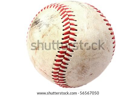 Closeup of dirty baseball