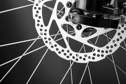 Closeup of disk brake of a mountain bicycle