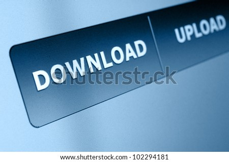 Closeup of Download and Upload Buttons on Screen of Monitor
