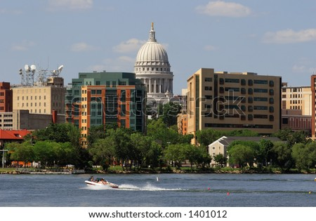 Closeup of Downtown Madison Wisconsin from Lake Monona - stock photo
