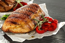 closeup of duck meat