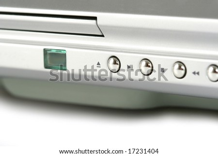 closeup of dvd player control