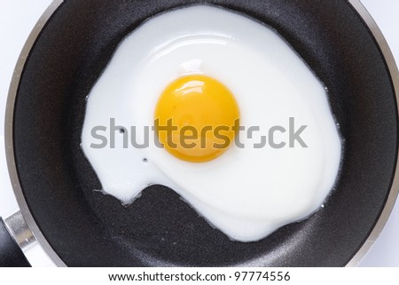 Closeup of egg in frying pan