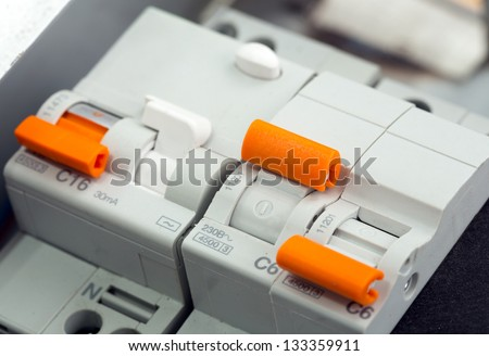 Closeup of electrical supplies in switchgear cabinet