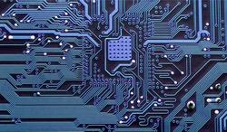 Closeup of electronic circuit board, inside of computer