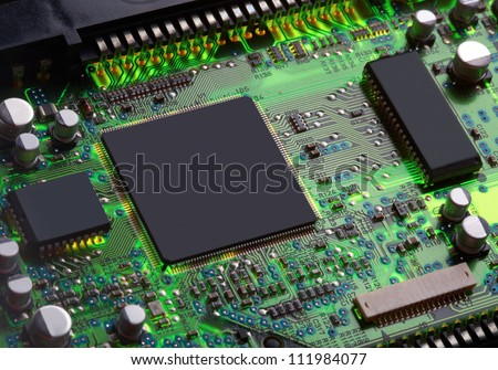 Closeup of electronic circuit board with processor