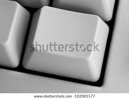 Closeup of empty computer key on keyboard with space for your text or image