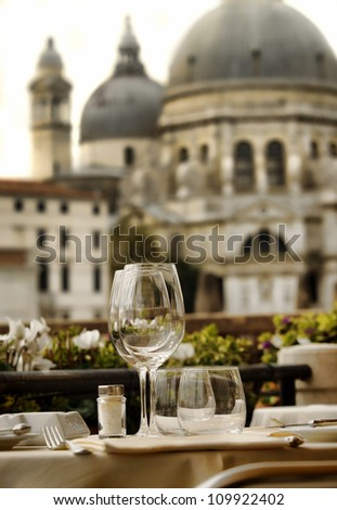 closeup of empty wine glasses in Venice, Italy