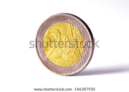 Closeup of Euro coin isolated on white background