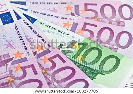 Closeup of euro paper currency