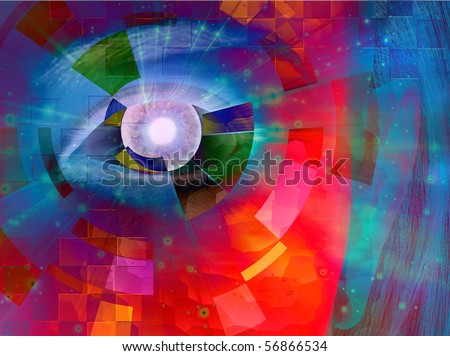 Closeup of eye with abstract
