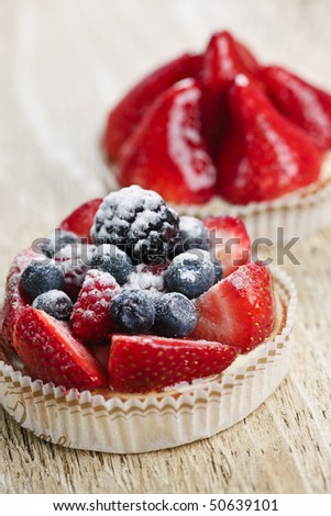 Closeup of fancy gourmet fresh fruit dessert tarts