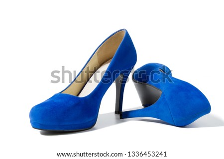 eea11d379f2 Closeup of fashionable high heels shoes isolated on white background. Blue  color woman shoe on