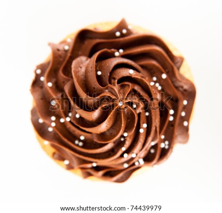 Closeup of Festive Cupcake with Chocolate Frosting Top and Sprinkles on White Background