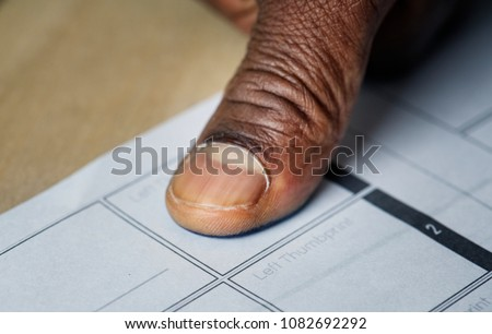 Closeup of fingerprint on paper