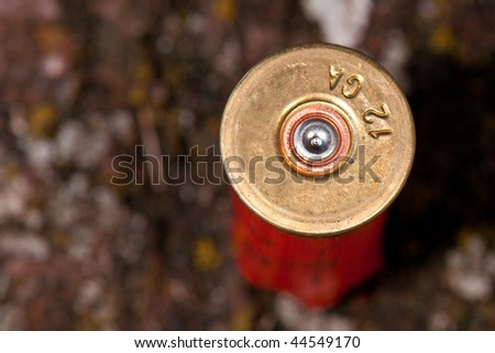 Closeup of fired shotgun cartridge