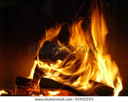 Closeup of firewood burning in fire