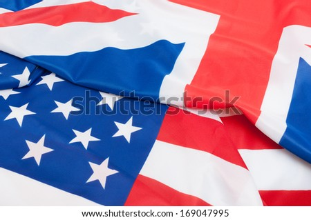 Closeup of Flags of Great Britain and USA #169047995