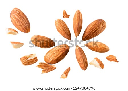Closeup of fly almonds,  isolated on the white background Full depth of field. #1247384998