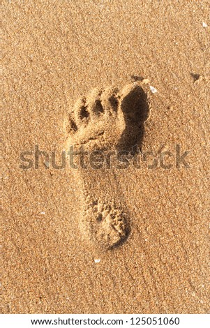 Closeup of foot print on sand beach