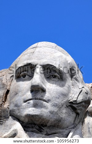 Closeup of former U.S. president George Washington at the Mount Rushmore National Memorial in South Dakota