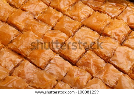Closeup of fresh baklava cut. Baklava is a traditional sweet made in Turkey and other Middle East countries.