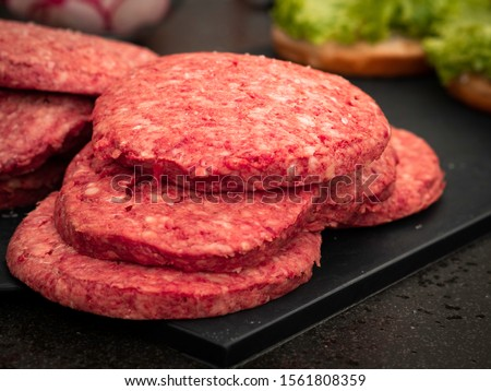 Closeup of fresh defrosted wagyu burger pattys