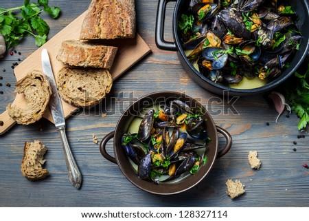 Closeup of fresh ingredients to prepare mussels