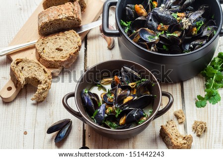 Closeup of freshly cooked mussels at home
