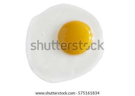 Closeup of fried eggs on a white background. top view