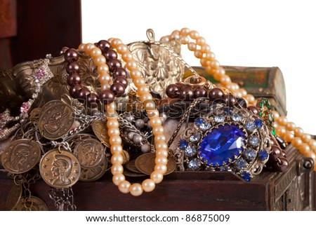 Closeup of full treasure  trunk  with jewellery