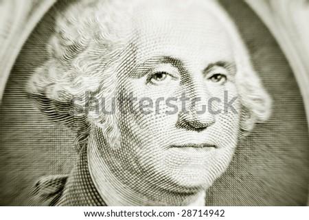 Closeup of George Washington on a one dollar bill