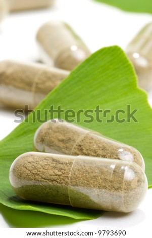 Closeup of Ginkgo Biloba extract pills and fresh Ginkgo Biloba leaves best suited for aged people alternative medicine ads