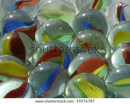 Closeup of glass marbles