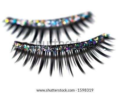 Closeup of glitter false eyelashes