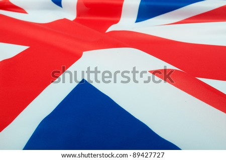 Closeup of Glossy Flag of Great Britain - UK Flag Drapery