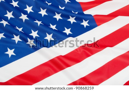 Closeup of Glossy Flag of United States of America - US Flag Drapery