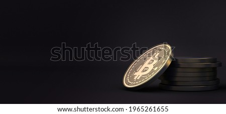 Closeup of golden bitcoin BTC cryptocurrency with dark black background. crypto coins 3d illustration.