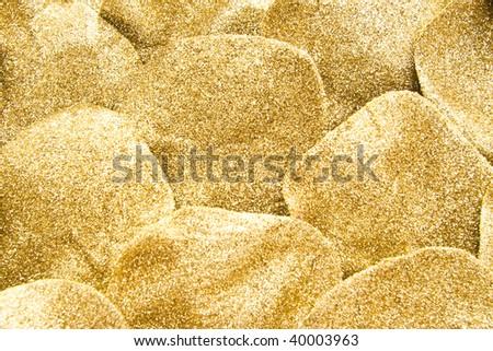 closeup of golden glitter for background