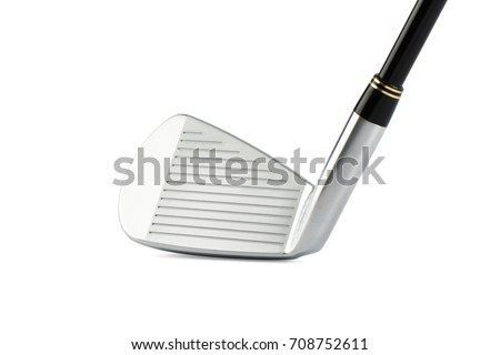 closeup of golf club iron No.7 face with horizontal grooves for spin on white background