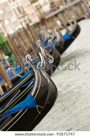 closeup of gondolas near Piazza San Marco in Venice, Italy