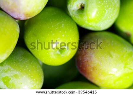 Closeup of green olives.