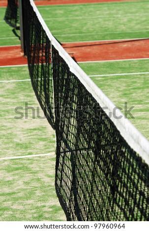 closeup of green tennis court net