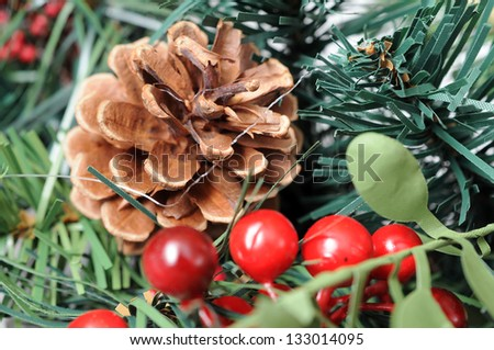 closeup of green wreath  for background uses