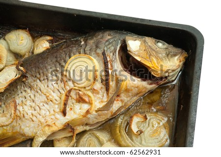 Closeup of grilled carp fish  on the cook griddle over white