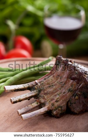 closeup of grilled lamb chops