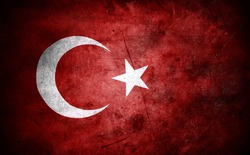 Closeup of grunge Turkish flag