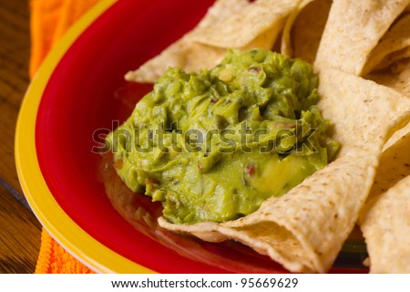 Closeup of guacamole and tortilla chips