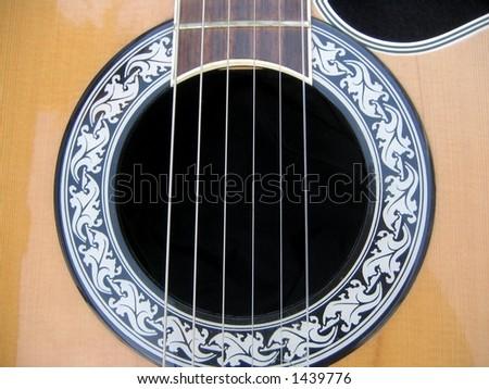 Closeup of guitar detail - stock photo