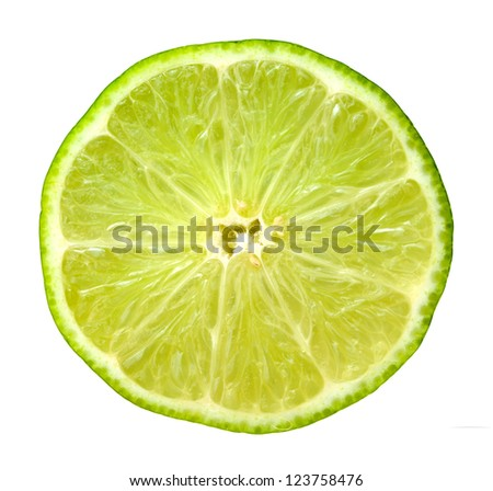 closeup of half lime isolated on white background